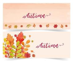 Autumn sale banners in watercolor style