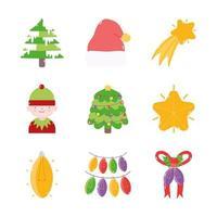 colección de iconos de decoración navideña vector
