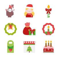 Christmas decoration icon collection  vector