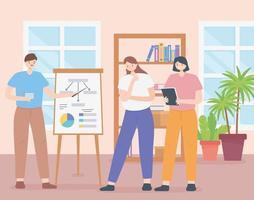 concepto de coworking con un equipo de empleados. vector