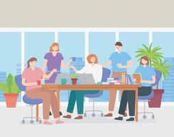 Coworking concept with a team of employees