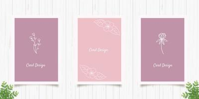 Set of Minimalist Floral Cards vector