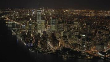 skyline cityscape view of lower manhattan at night