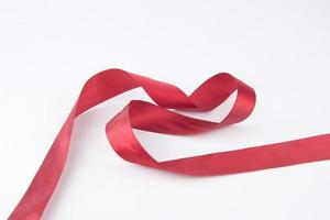 Red Ribbon on the white background photo