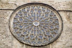 Barcelona - rosette of gothic church Santa Maria del Pi photo