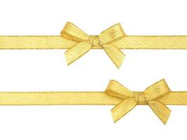 Golden ribbon and bow isolated photo