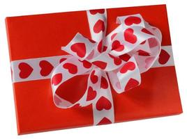 red parcel with a white ribbon