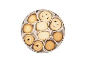 caja redonda con galletas foto