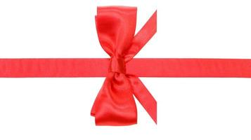 real red bow with horizontal cut ends on ribbon