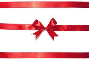 Red ribbon bow on white background
