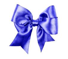 blue bow made from silk ribbon photo