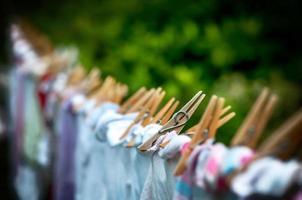 Eco-friendly washing line laundry drying photo