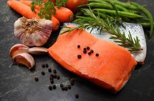 raw salmon fillets photo