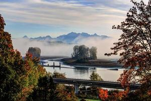 morning mist over river in autumn