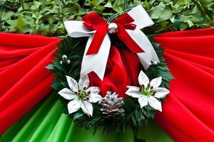 red satin gift bow. Ribbon photo