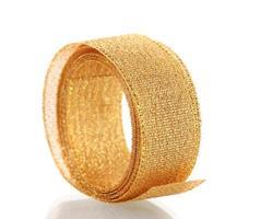 beautiful golden ribbon isolated on white