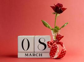 Red theme save the date calendar for International Women's Day