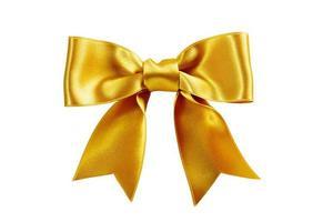single golden ribbon gift bow isolated on white photo