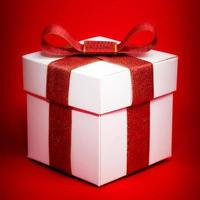 White box with a red ribbon on red background