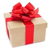 cardboard gift box with a red ribbon bow