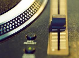 vinyl disc on retro turntable photo