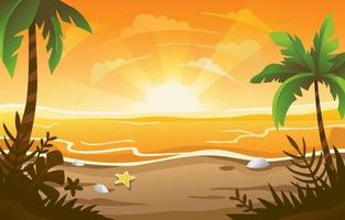 Summer Sunset Beach Background