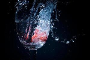 Strawberry splash in to a glass