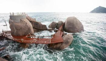 The way between rocks stones in sea