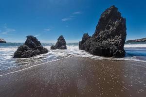 Rodeo Beach California rocks waves and sand photo