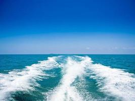 trace tails of speed boat on water surface