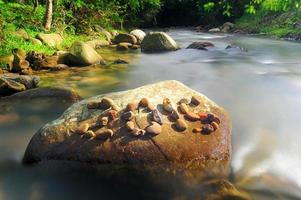Year 2015 written on rock over flowing water photo