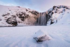Skogafoss, the great and beautiful waterfall in Iceland during winter