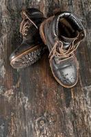 Wet hiking boot photo