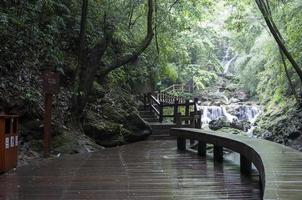 waterfall, bridge and footpath photo
