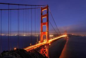 noche, iluminación, puente golden gate.