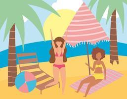actividades de gente de verano vector