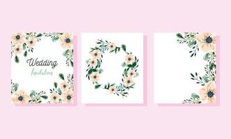 Wedding floral invitation template card vector