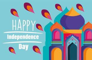 feliz día de la independencia india taj mahal cartel vector
