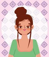 Young Hispanic woman culture cartoon portrait vector