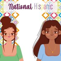 National Hispanic heritage month, two women portrait vector