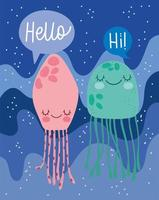 Jellyfishes water marine life landscape cartoon