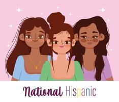 National Hispanic heritage month, women cartoon vector