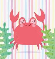 Crab algae marine life scene vector