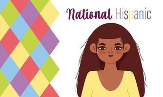 National Hispanic heritage month, young woman cartoon vector