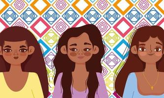 National Hispanic heritage month, three women cartoon vector