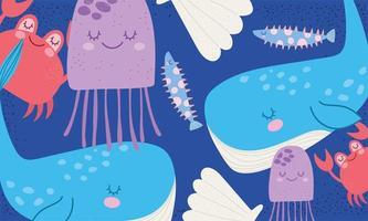 Whale, shell, crab, fish marine life scene vector