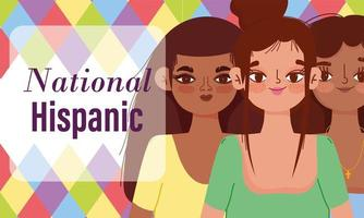 National Hispanic heritage month, young women group vector