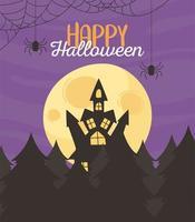 Happy halloween night moon greeting design  vector