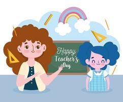 feliz día del maestro diseño de banner con estudiante vector