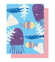 Under the sea jellyfishes, fishes, shell, algae pattern vector